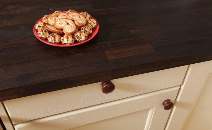 Solid wood black oak worktop.