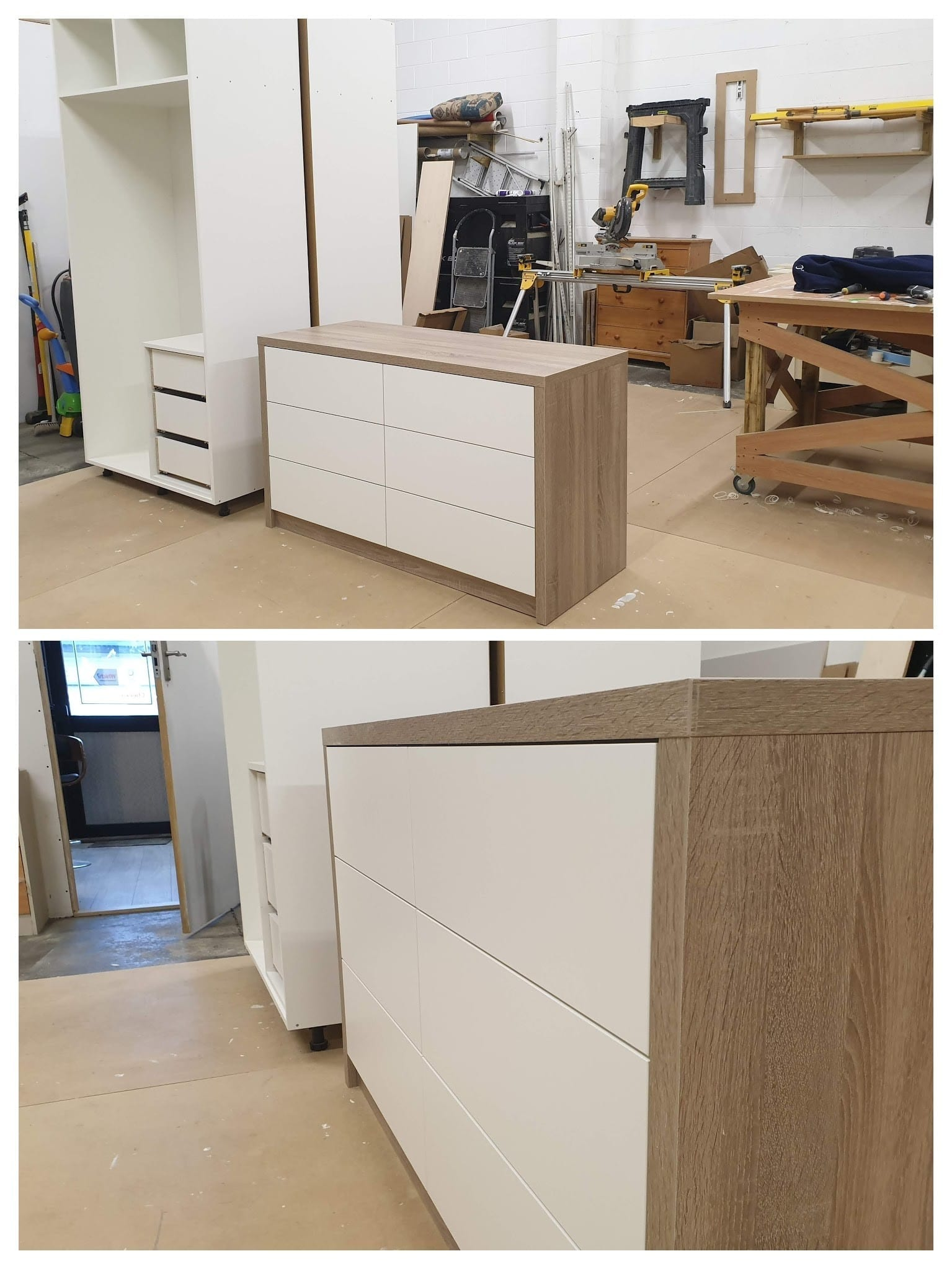 Preparation of modern style made to measure bedroom furniture in our workshop based in Whitwood, West yorkshire.