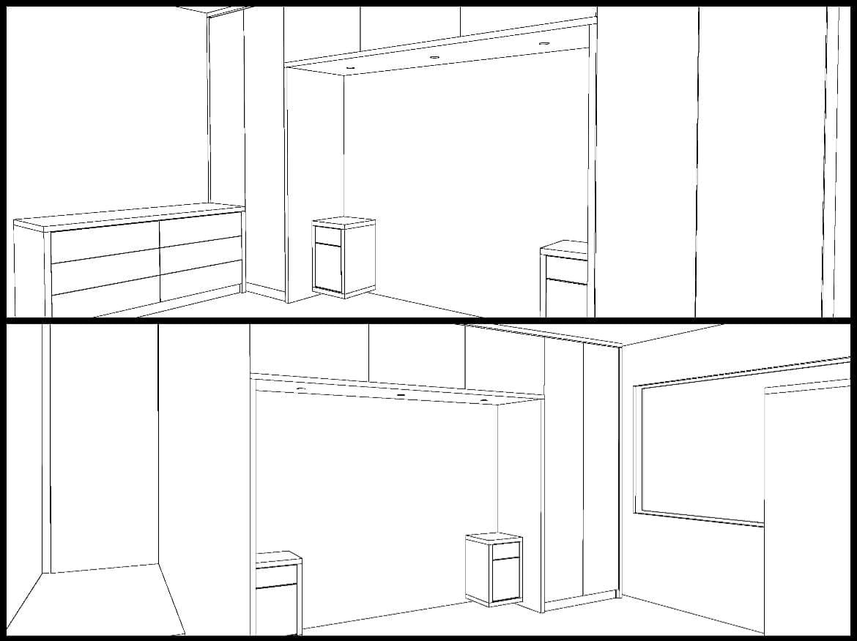 Modern bedroom design drawing