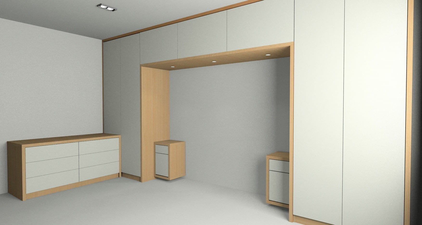 Rendered view of modern bedroom furniture designed for our customer form Silkstone South Yorkshire.