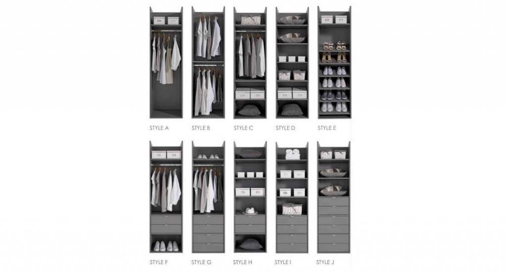 Sliding door wardrobe internal configuration options.